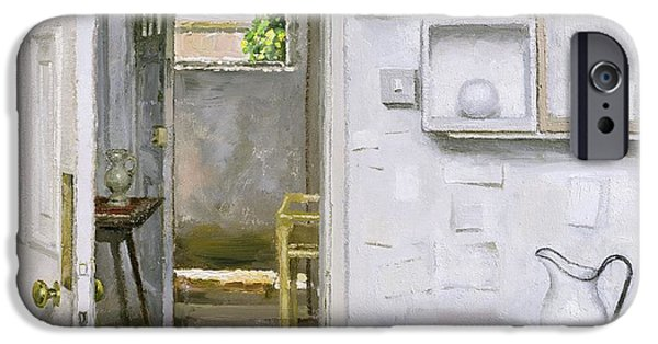 Pitcher iPhone Cases - Open Doors With Still Life And Letter, 2004 Oil On Canvas iPhone Case by Charles E. Hardaker