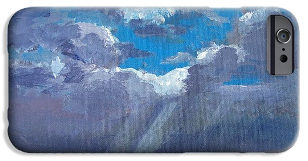 Cloudy Day Paintings iPhone Cases - Open Field Majestic iPhone Case by Patricia Awapara