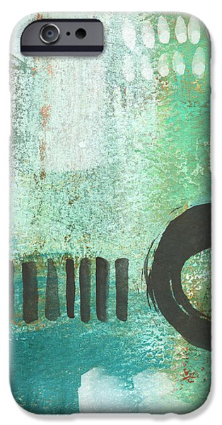 Corporate Art iPhone Cases - Open Gate- Contemporary Abstract Painting iPhone Case by Linda Woods
