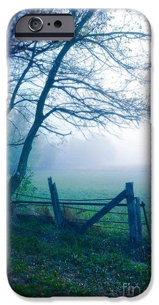 Fog Mist iPhone Cases - Open Gate to Foggy Field iPhone Case by Jill Battaglia