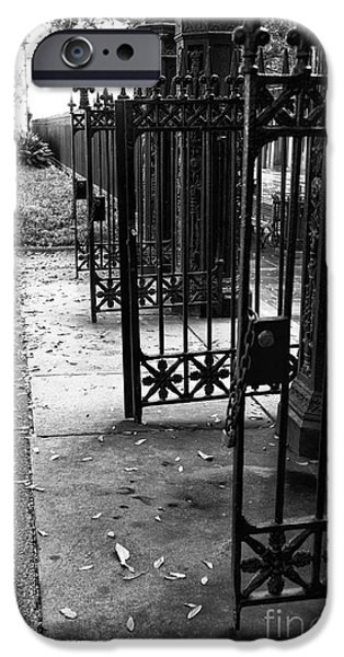 French Open iPhone Cases - Open Gates in Jackson Square mono iPhone Case by John Rizzuto