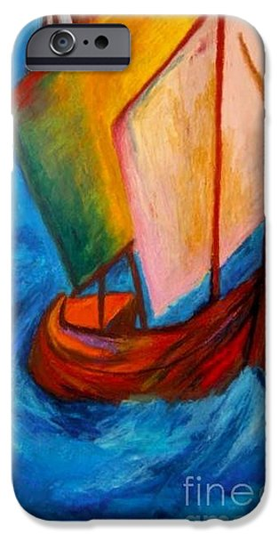 Sailboats Pastels iPhone Cases - Open Sail iPhone Case by Jon Kittleson