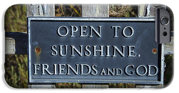 Open iPhone Cases - Open to sunshine sign iPhone Case by Garry Gay