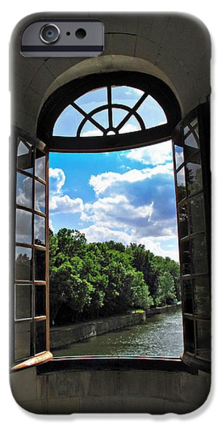 French Open iPhone Cases - Open Window at Chateau Chenonceau iPhone Case by Joan  Minchak
