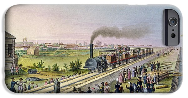 Inauguration iPhone Cases - Opening Of The First Railway Line From Tsarskoe Selo To Pavlovsk In 1837 Wc On Paper iPhone Case by Russian School
