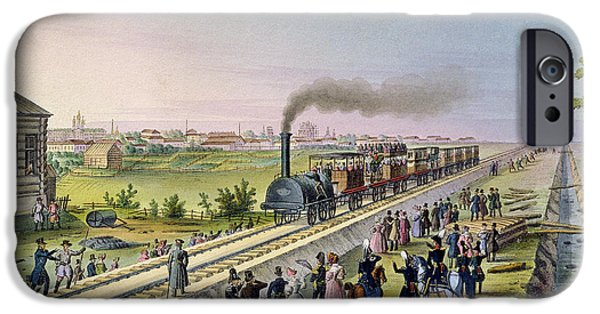 Inauguration iPhone Cases - Opening Of The First Railway Line From Tsarskoe Selo To Pavlovsk In 1837 iPhone Case by Russian School