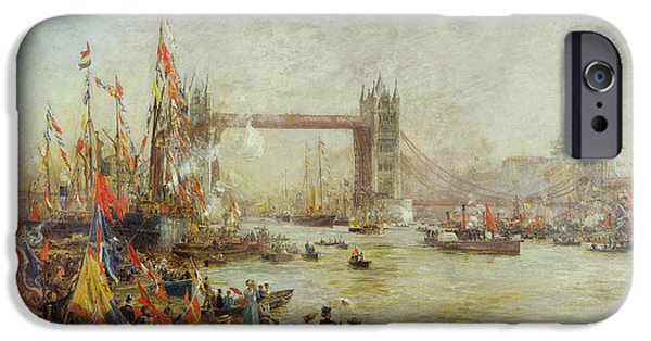 Ceremony iPhone Cases - Opening Of Tower Bridge, 1894 Oil On Canvas iPhone Case by William Lionel Wyllie