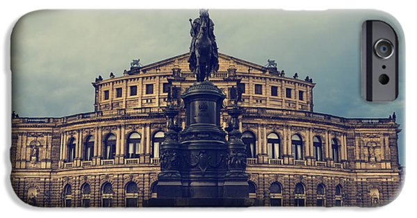 City Pyrography iPhone Cases - Opera House in Dresden iPhone Case by Jelena Jovanovic