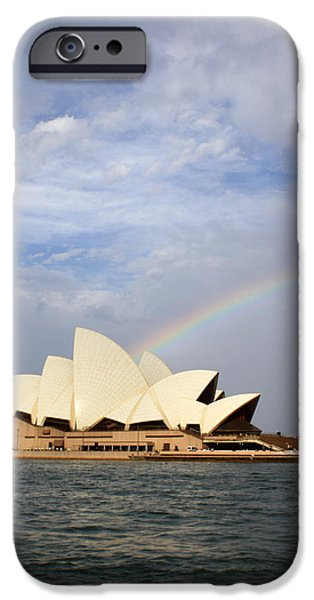 House iPhone Cases - Rainbow over the Opera House iPhone Case by Stefan Kaertner