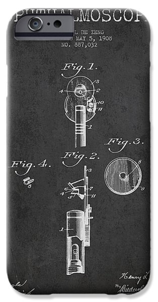 Medical Instrument iPhone Cases - Ophthalmoscope Patent from 1908 - Dark iPhone Case by Aged Pixel