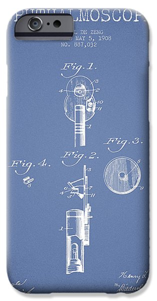 Medical Instrument iPhone Cases - Ophthalmoscope Patent from 1908 - Light Blue iPhone Case by Aged Pixel