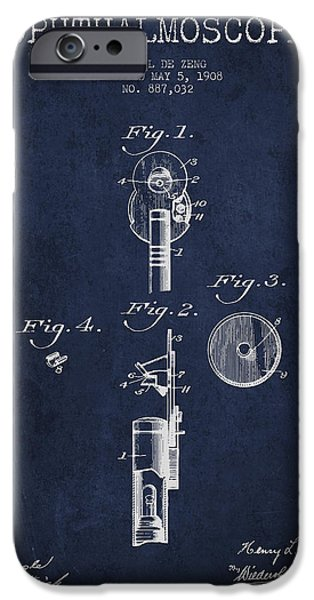 Medical Instrument iPhone Cases - Ophthalmoscope Patent from 1908 - Navy Blue iPhone Case by Aged Pixel