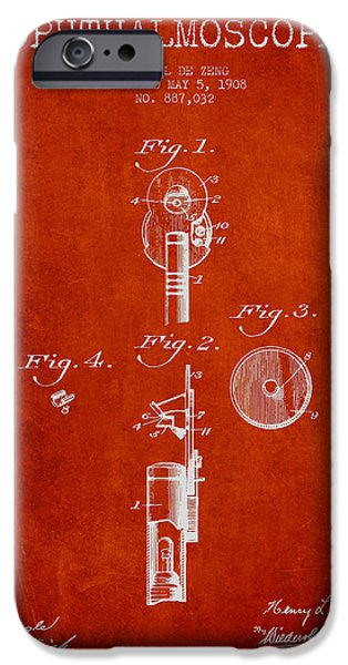 Medical Instrument iPhone Cases - Ophthalmoscope Patent from 1908 - Red iPhone Case by Aged Pixel