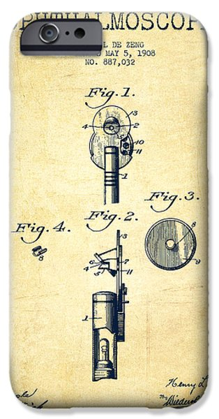 Medical Instrument iPhone Cases - Ophthalmoscope Patent from 1908 - Vintage iPhone Case by Aged Pixel