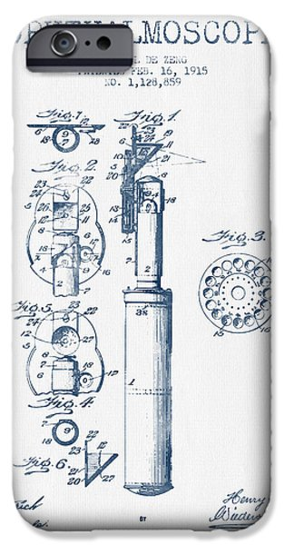Medical Instrument iPhone Cases - Ophthalmoscope Patent from 1915- Blue Ink iPhone Case by Aged Pixel
