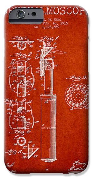 Device iPhone Cases - Ophthalmoscope Patent from 1915 - Red iPhone Case by Aged Pixel
