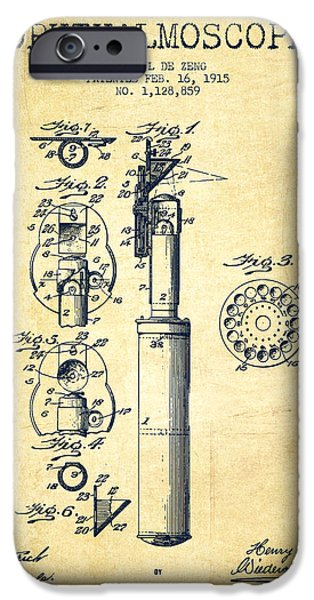Device iPhone Cases - Ophthalmoscope Patent from 1915 - Vintage iPhone Case by Aged Pixel