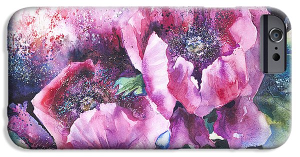 Kate iPhone Cases - Opium Poppies iPhone Case by Kate Bedell