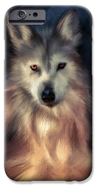 Gray Hair Pastels iPhone Cases - Opportunistic Wolf... iPhone Case by Mark Tonelli