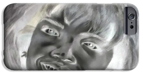 Inverted Drawings iPhone Cases - Oprah Negative iPhone Case by Rob Hans