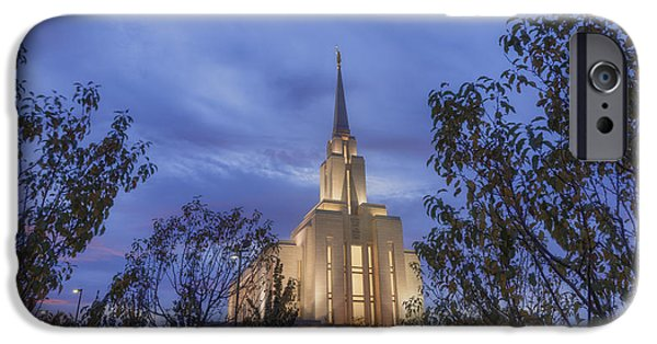 Autumn Season iPhone Cases - Oquirrh Mountain Temple II iPhone Case by Chad Dutson