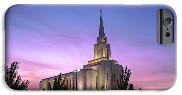 Jordan iPhone Cases - Oquirrh Mountain Temple IV iPhone Case by Chad Dutson