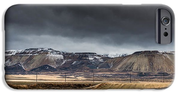 Tailings iPhone Cases - Oquirrh Mountains Winter Storm Panorama 2 - Utah iPhone Case by Gary Whitton