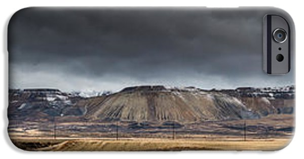 Tailings iPhone Cases - Oquirrh Mountains Winter Storm Panorama - Utah iPhone Case by Gary Whitton
