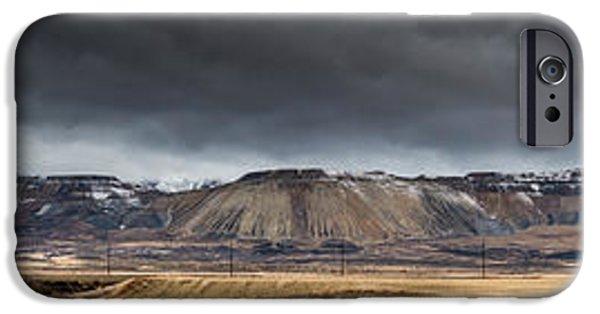 Jordan iPhone Cases - Oquirrh Mountains Winter Storm Panorama - Utah iPhone Case by Gary Whitton