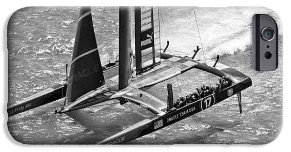 Recently Sold -  - Bay Bridge iPhone Cases - Oracle Team Usa - 3 Bw iPhone Case by Gilles Martin-Raget