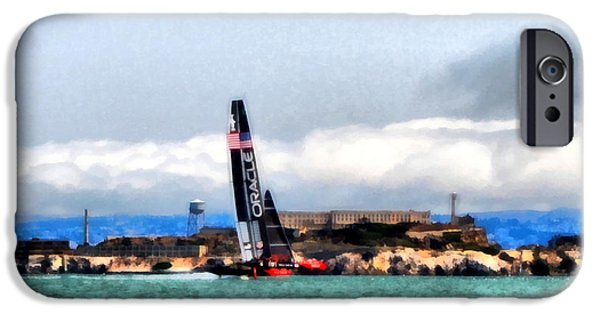 Alcatraz iPhone Cases - Oracle Team USA and Alcatraz iPhone Case by Michelle Calkins