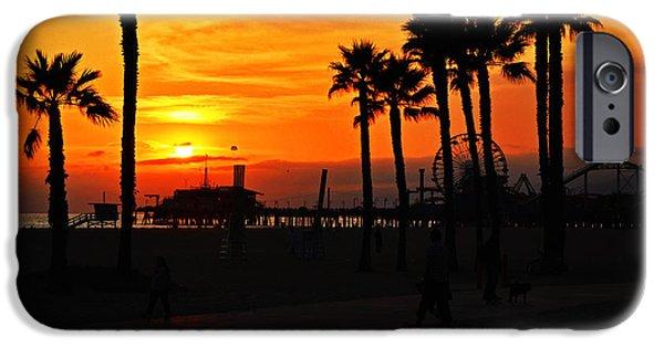 Santa Pyrography iPhone Cases - Orage Sunset Santa Monica Pier iPhone Case by Steffen Schumann