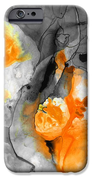 Tangerines Paintings iPhone Cases - Orange Abstract Art - Iced Tangerine - By Sharon Cummings iPhone Case by Sharon Cummings