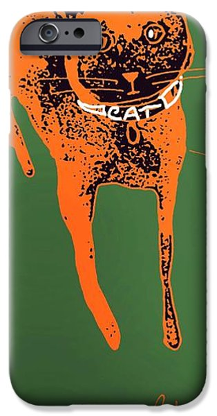 Pen And Ink iPhone Cases - Orange and Black Cat on Green Grass iPhone Case by Cathy Peterson