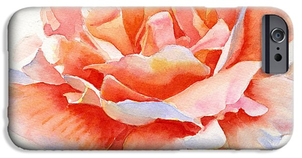 Rose iPhone Cases - Orange and Gold Rose Square Design iPhone Case by Sharon Freeman