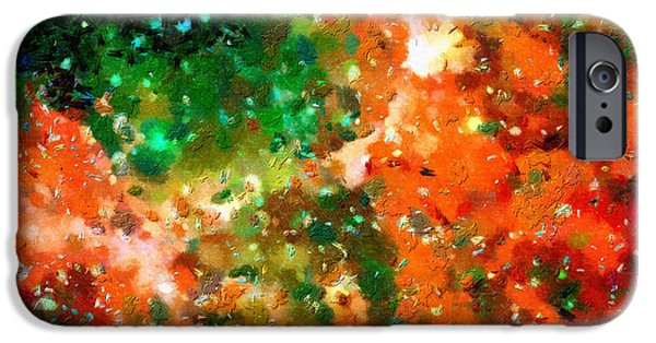 Outer Space Paintings iPhone Cases - Orange and green space iPhone Case by Magomed Magomedagaev
