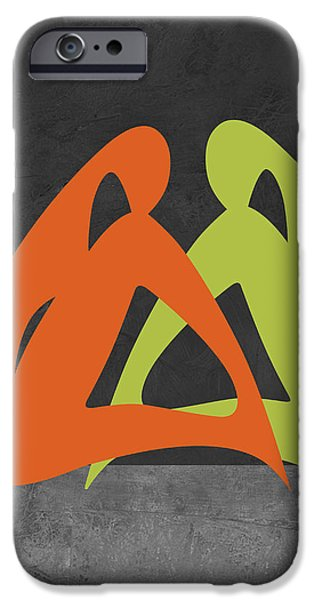 Love Making Paintings iPhone Cases - Orange and Green Women iPhone Case by Naxart Studio
