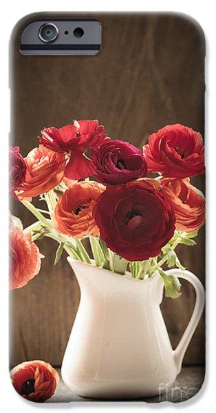Orange and Red Ranunculus Flowers iPhone Case by Jan Bickerton