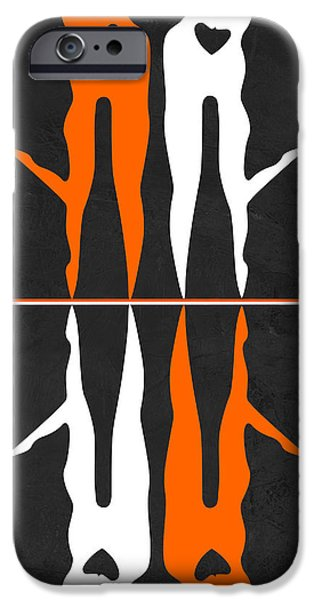 Love Making Paintings iPhone Cases - Orange and White Kiss iPhone Case by Naxart Studio