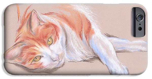 Stripes Pastels iPhone Cases - Orange and White Tabby Cat with Gold Eyes iPhone Case by MM Anderson