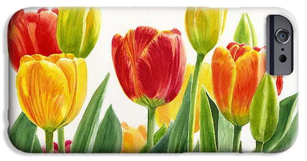 Tulips iPhone Cases - Orange and Yellow Tulips Horizontal Design iPhone Case by Sharon Freeman