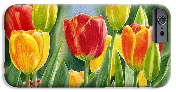 Garden iPhone Cases - Orange and Yellow Tulips with Background iPhone Case by Sharon Freeman