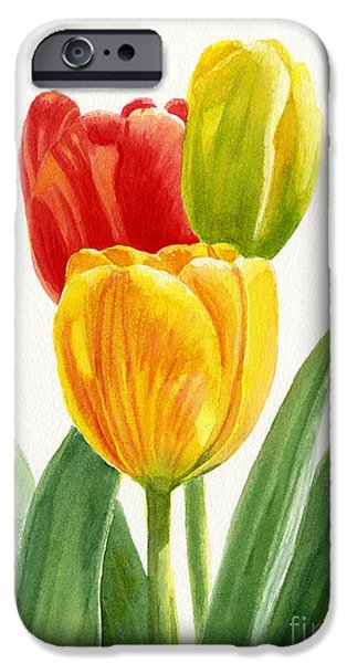 Botanical iPhone Cases - Orange and Yellow Tulips with Bud iPhone Case by Sharon Freeman