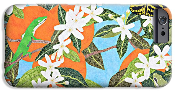 Insects Tapestries - Textiles iPhone Cases - Orange Blossoms iPhone Case by Pauline Barrett