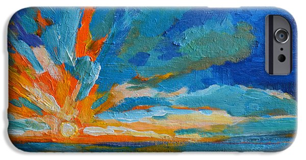 Recently Sold -  - Abstract Expressionist iPhone Cases - Orange Blue Sunset Landscape iPhone Case by Patricia Awapara