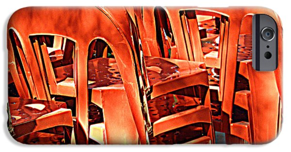 Furniture iPhone Cases - Orange Chairs iPhone Case by Valerie Reeves