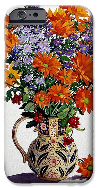 In Bloom Paintings iPhone Cases - Orange Chrysanthemums iPhone Case by Christopher Ryland