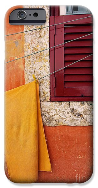 Balcony iPhone Cases - Orange Cloth  iPhone Case by Carlos Caetano