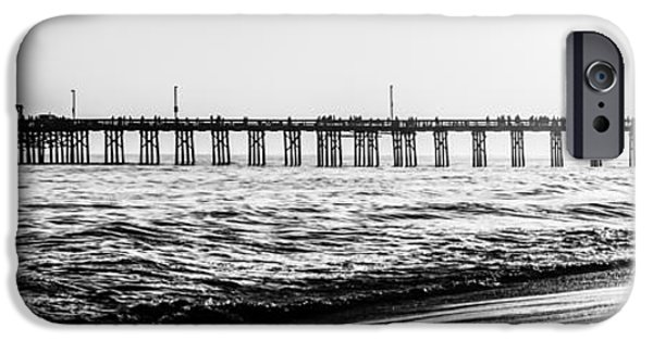 Pacific Ocean Prints iPhone Cases - Orange County California Pier Panorama Picture iPhone Case by Paul Velgos