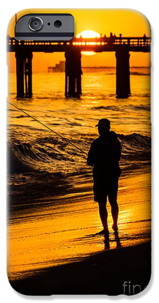 Seascape Photography iPhone Cases - Orange County California  Sunset Fishing Picture iPhone Case by Paul Velgos